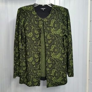 Misook Knit Jacket Green and Black Abstract Floral